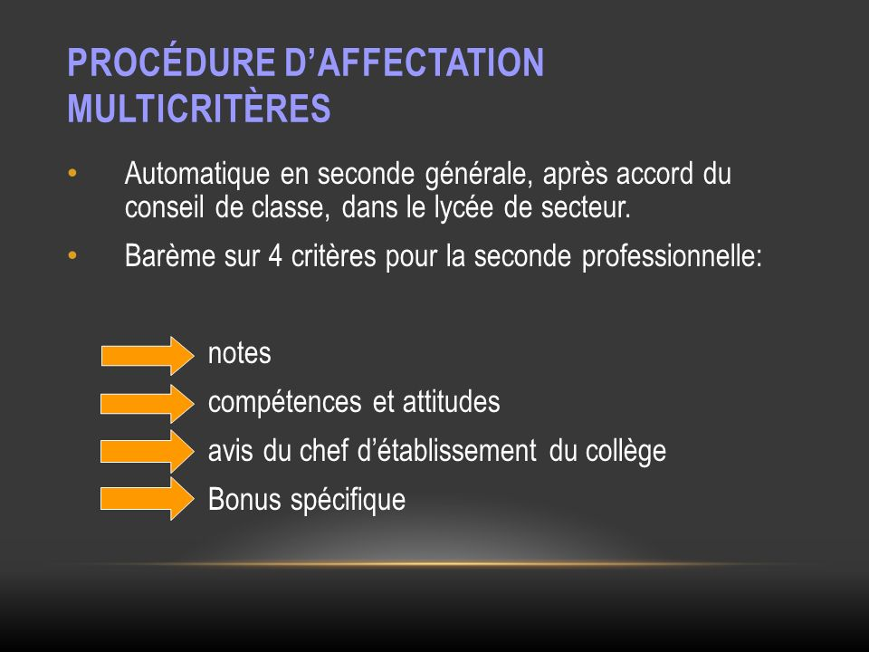 Procédure d'Affectation Multicritères
