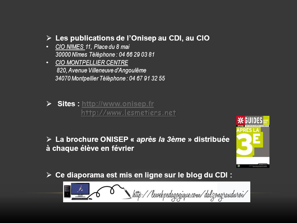 Les publications de l'Onisep au CDI, au CIO