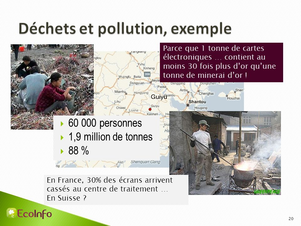 Déchets et pollution, exemple