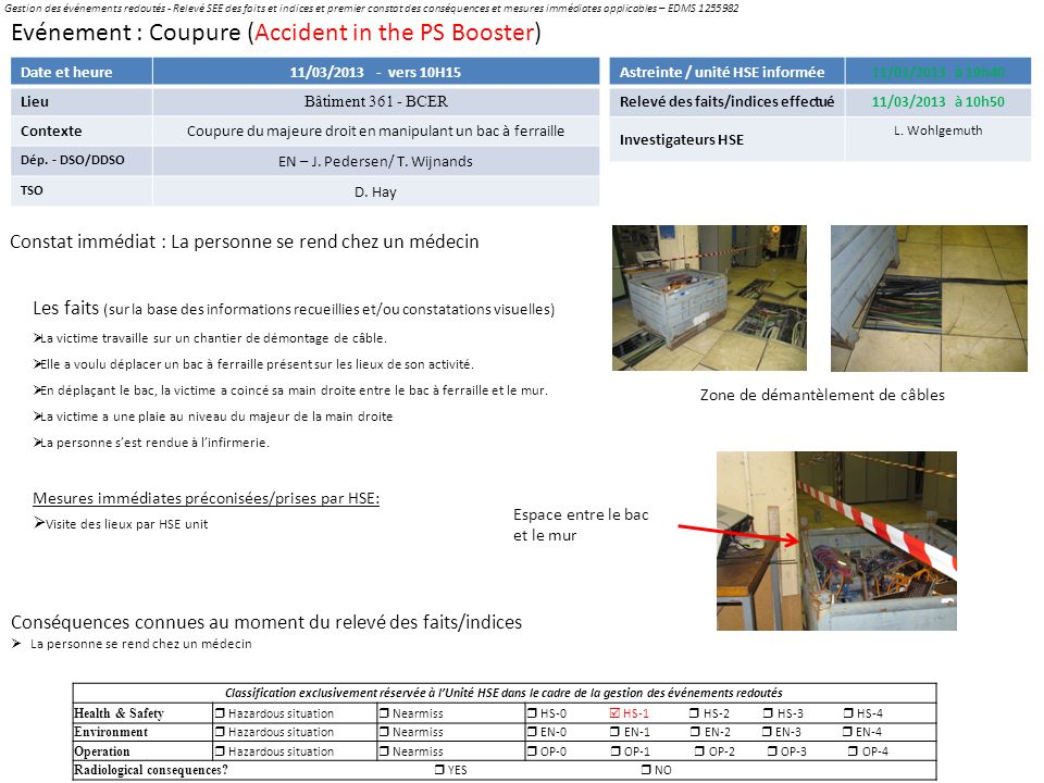 Evénement : Coupure (Accident in the PS Booster)
