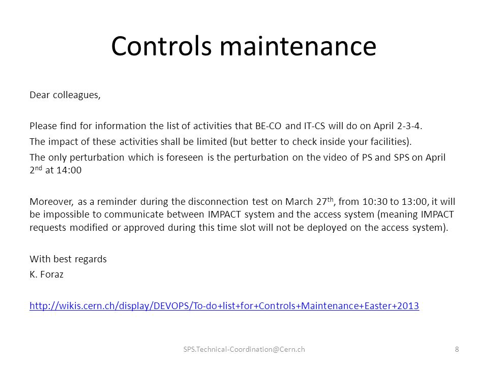 Controls maintenance