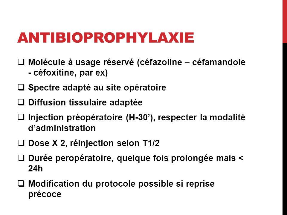 Antibioprophylaxie Molécule à usage réservé (céfazoline – céfamandole - céfoxitine, par ex) Spectre adapté au site opératoire.