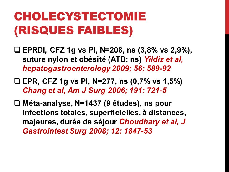 Cholecystectomie (risques faibles)