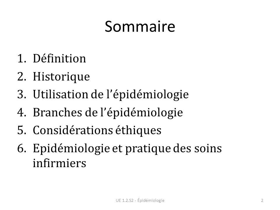 Sommaire Définition Historique Utilisation de l'épidémiologie