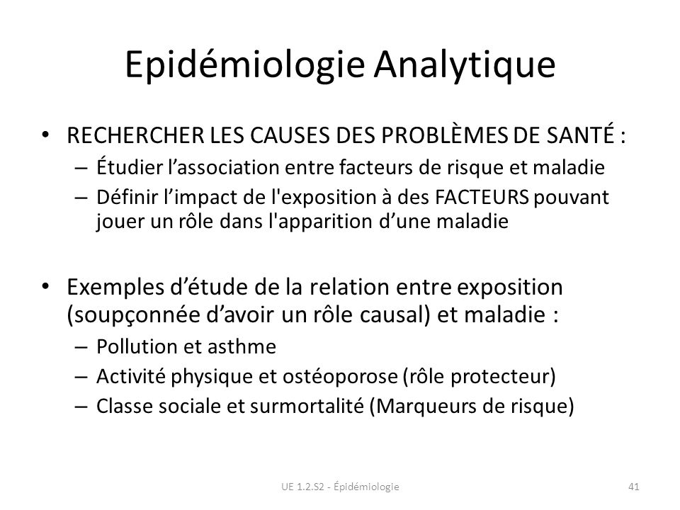 Epidémiologie Analytique