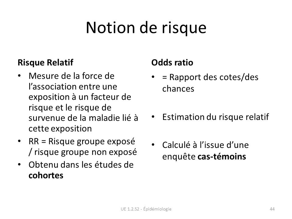 Notion de risque Risque Relatif Odds ratio