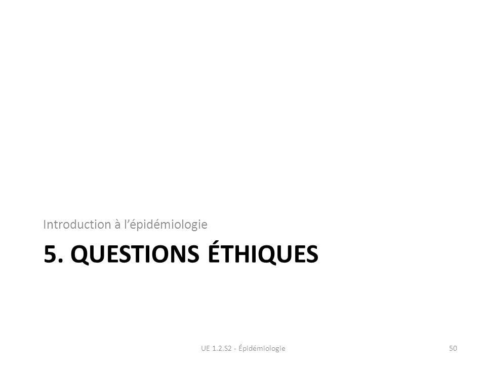 5. Questions éthiques Introduction à l'épidémiologie