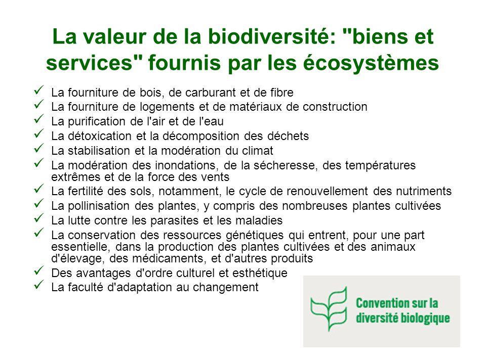 La valeur de la biodiversité: biens et services fournis par les écosystèmes