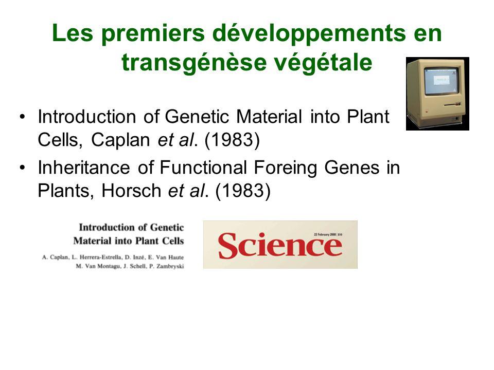 Les premiers développements en transgénèse végétale