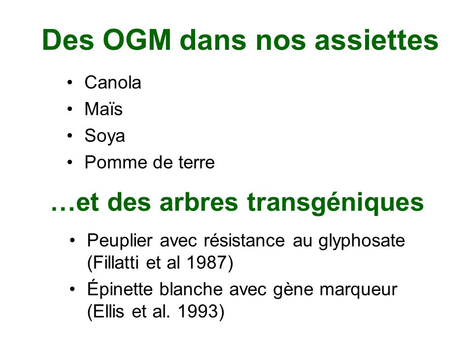 Des OGM dans nos assiettes