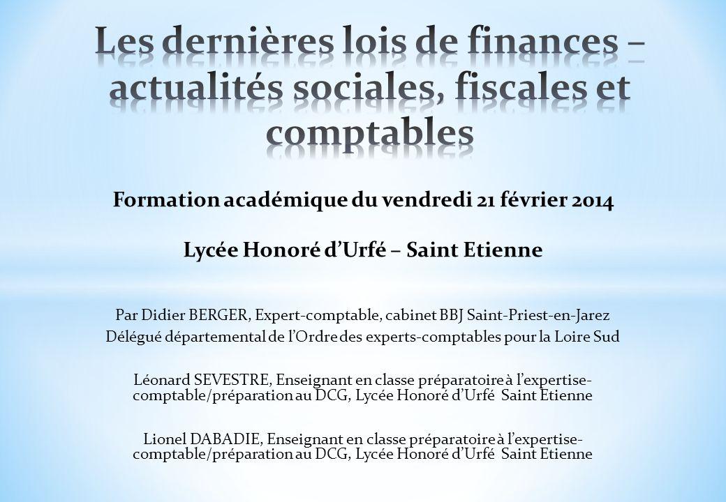 Formation lois de finances 2014 Lycée Honoré d Urfé - 21 février 2014