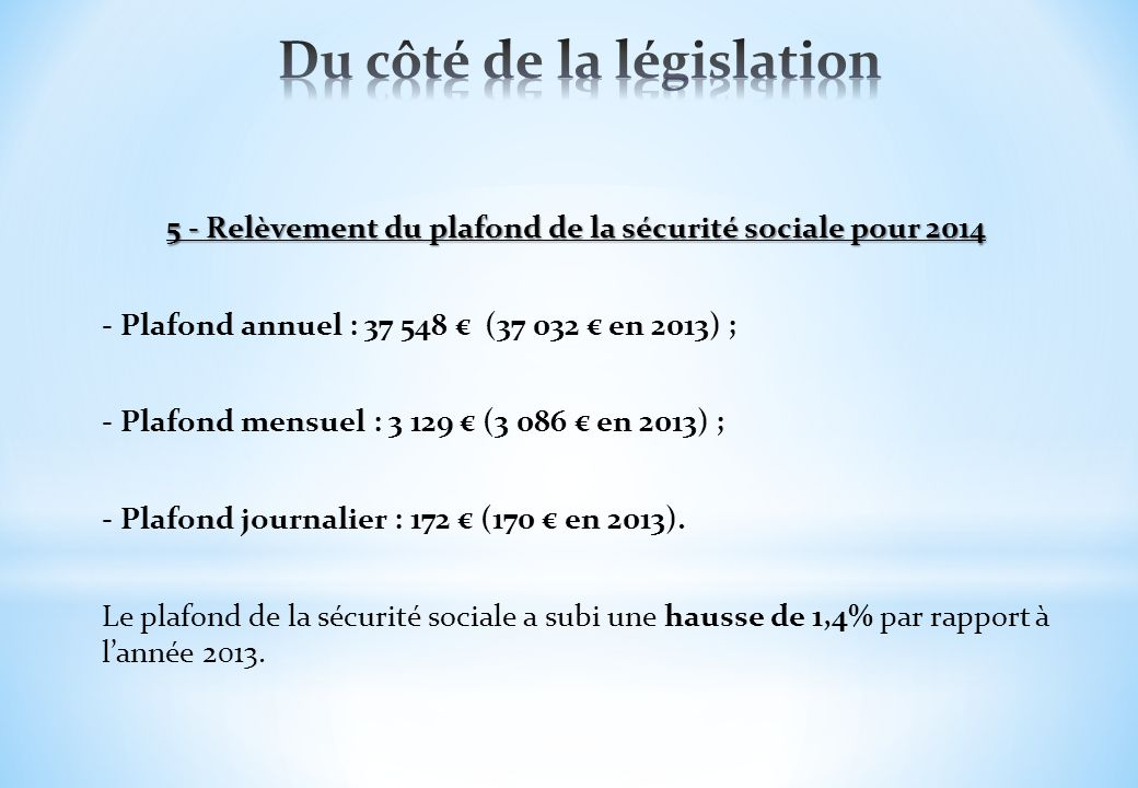 Formation lois de finances 2014 lyc e honor d 39 urf 21 - Plafond annuel de la securite sociale 2012 ...