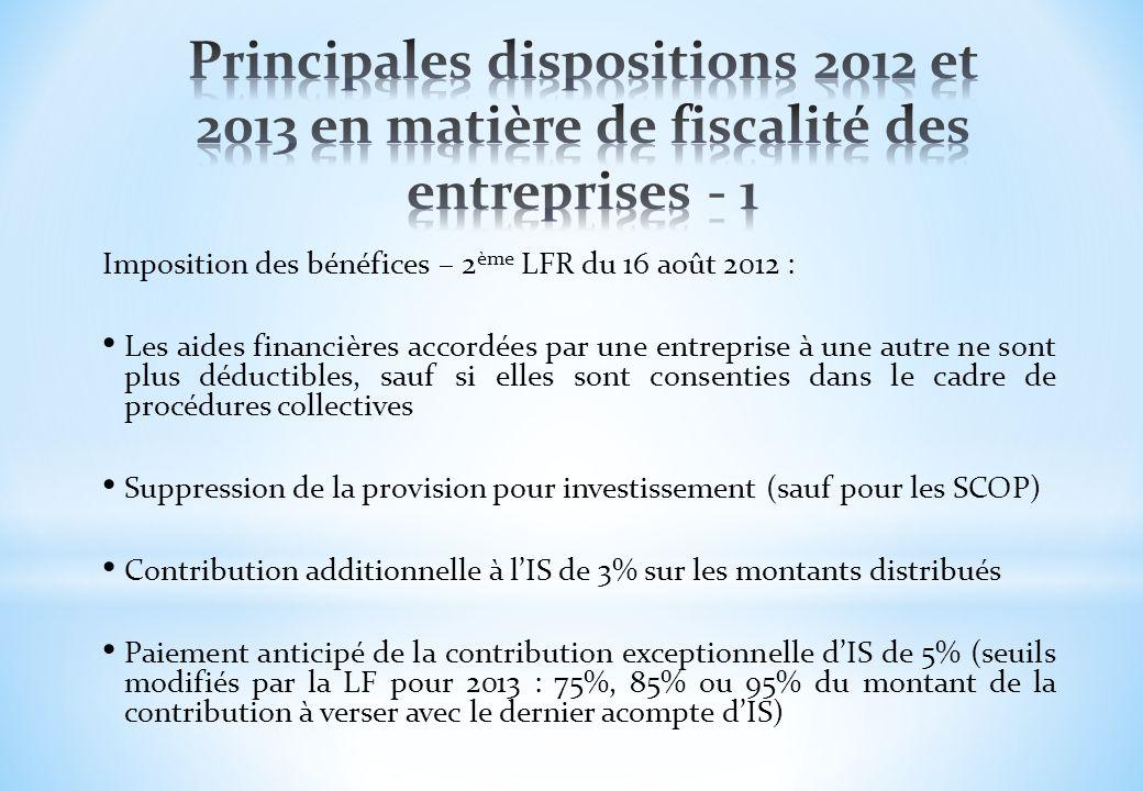 Principales dispositions 2012 et 2013 en matière de fiscalité des entreprises - 1