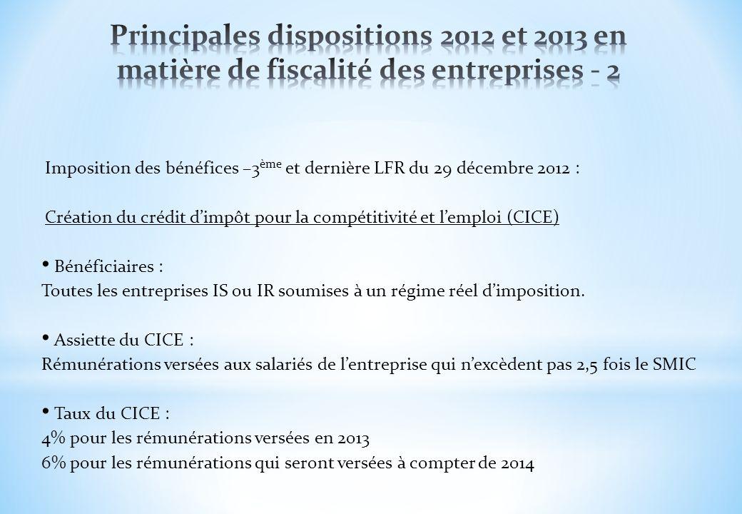 Principales dispositions 2012 et 2013 en matière de fiscalité des entreprises - 2