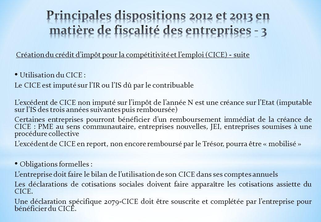 Principales dispositions 2012 et 2013 en matière de fiscalité des entreprises - 3