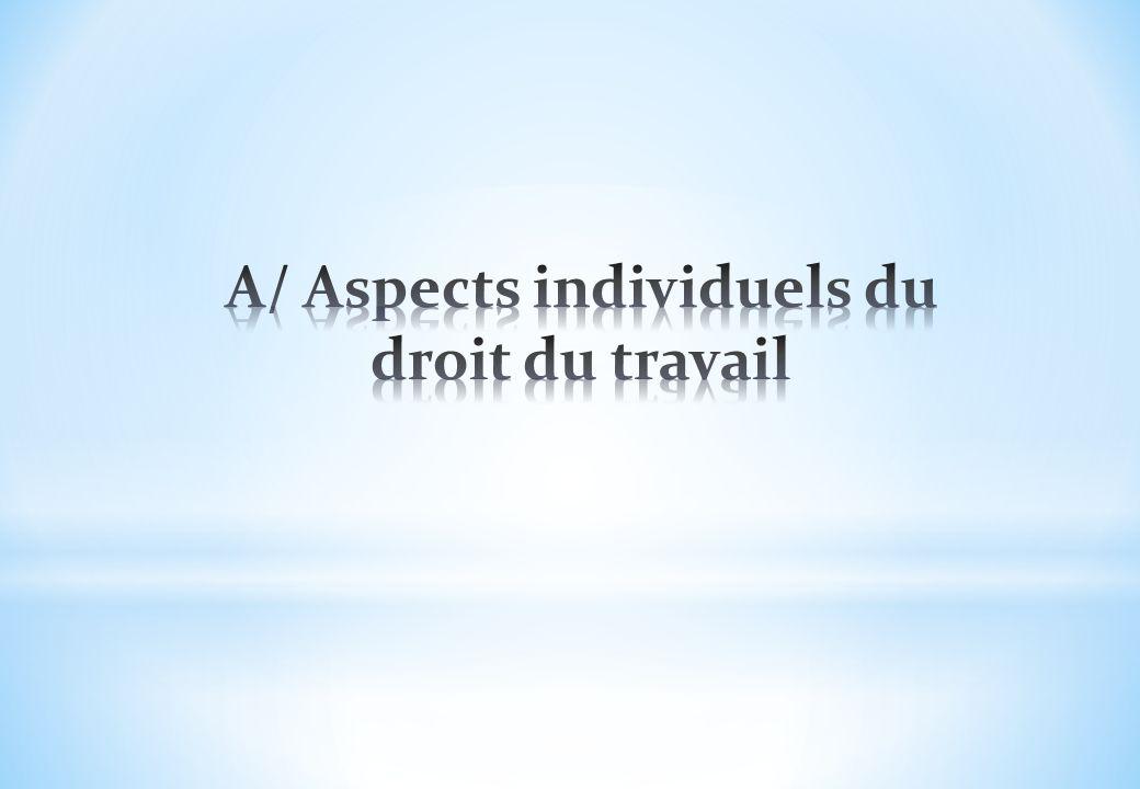 A/ Aspects individuels du droit du travail