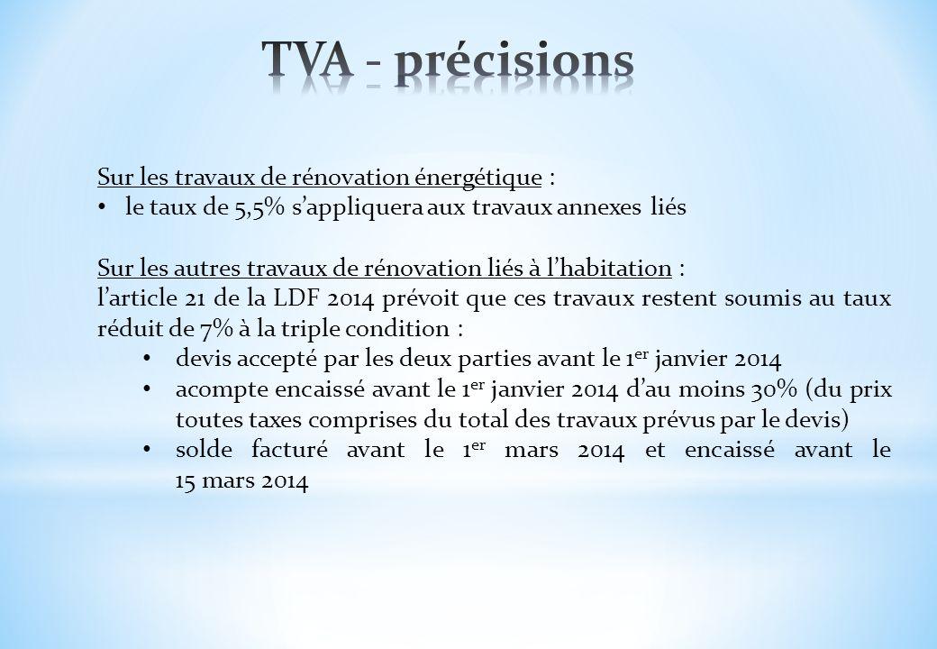 TVA - précisions Sur les travaux de rénovation énergétique :