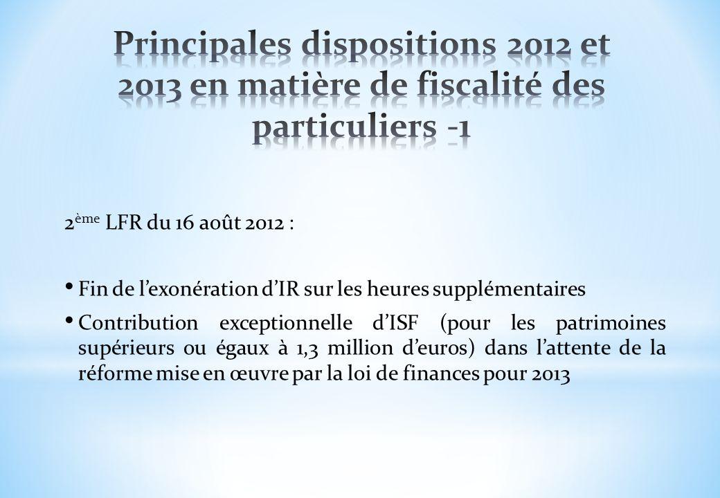 Principales dispositions 2012 et 2013 en matière de fiscalité des particuliers -1