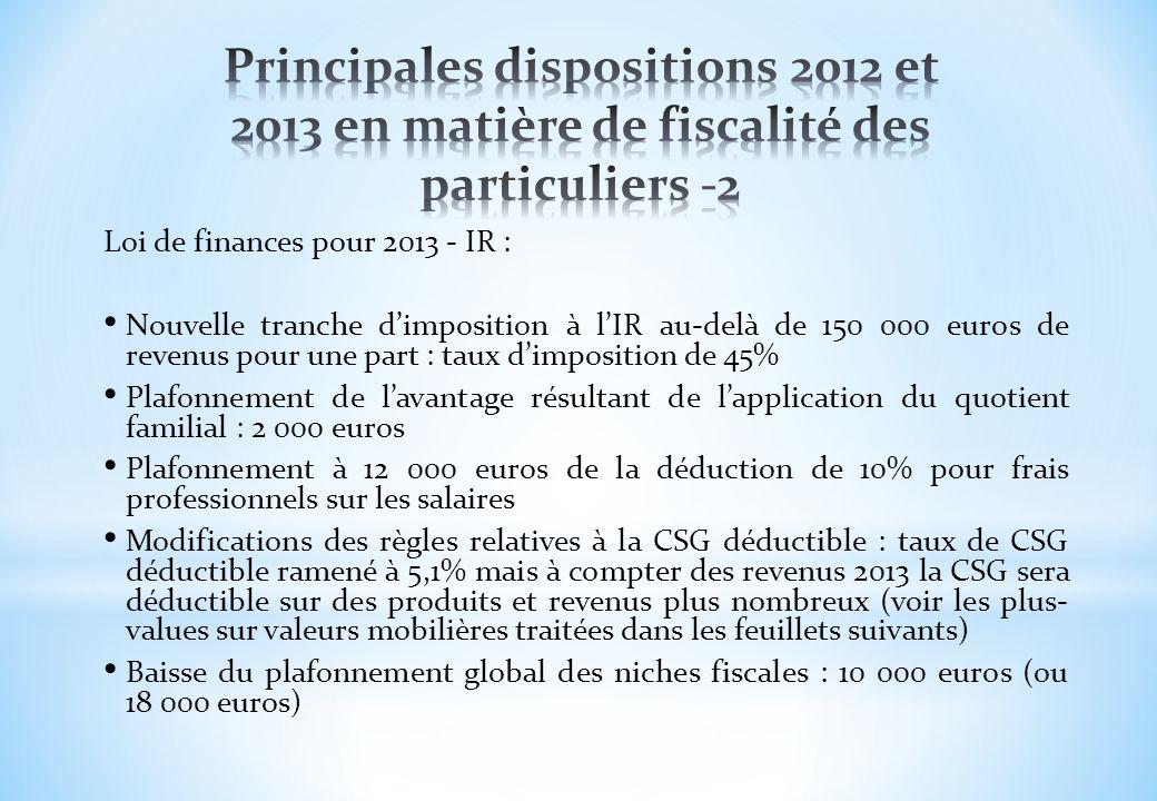 Principales dispositions 2012 et 2013 en matière de fiscalité des particuliers -2