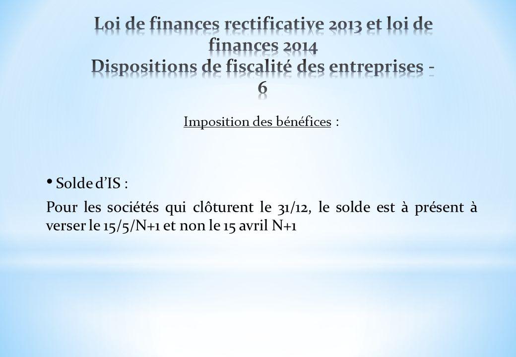 Imposition des bénéfices :
