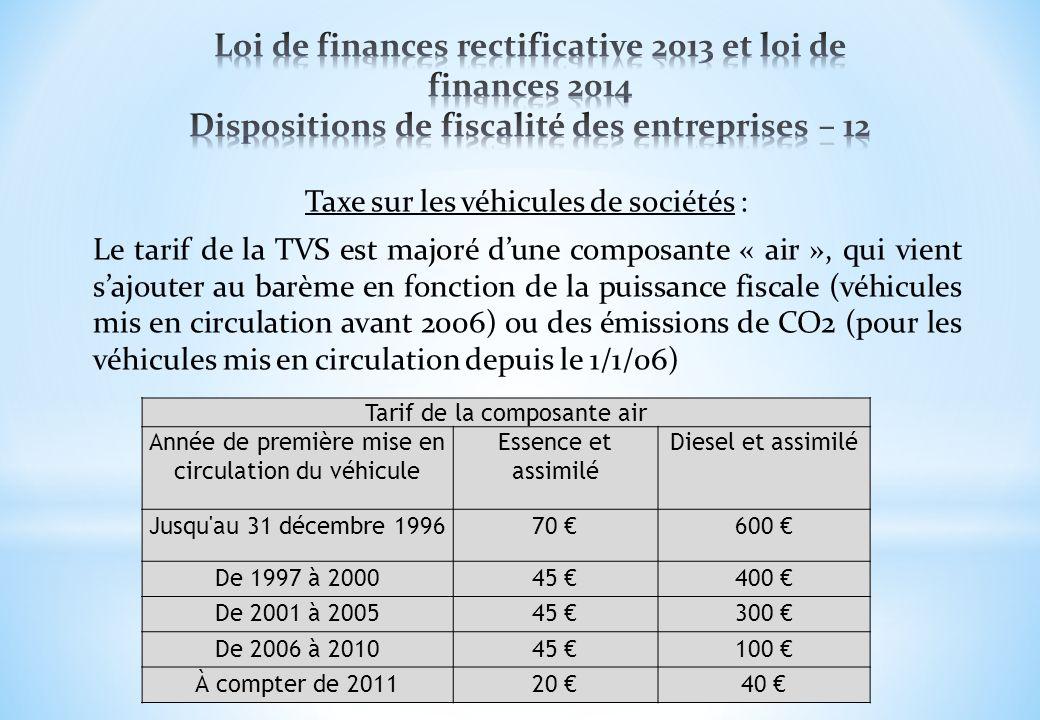 Loi de finances rectificative 2013 et loi de finances 2014 Dispositions de fiscalité des entreprises – 12