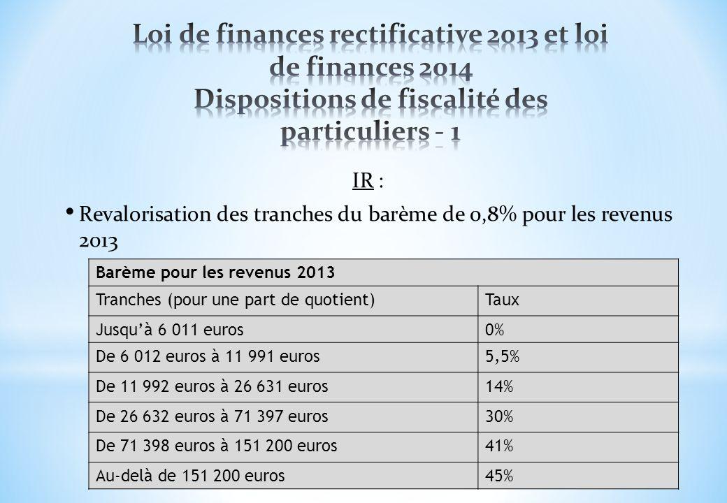 Loi de finances rectificative 2013 et loi de finances 2014 Dispositions de fiscalité des particuliers - 1