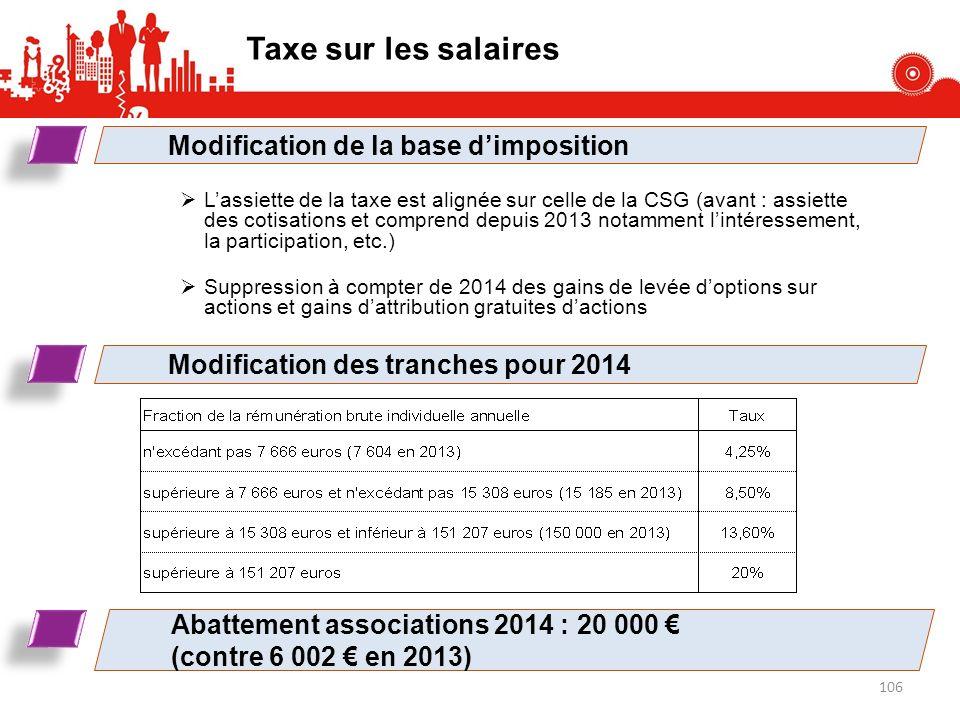 Taxe sur les salaires Modification de la base d'imposition