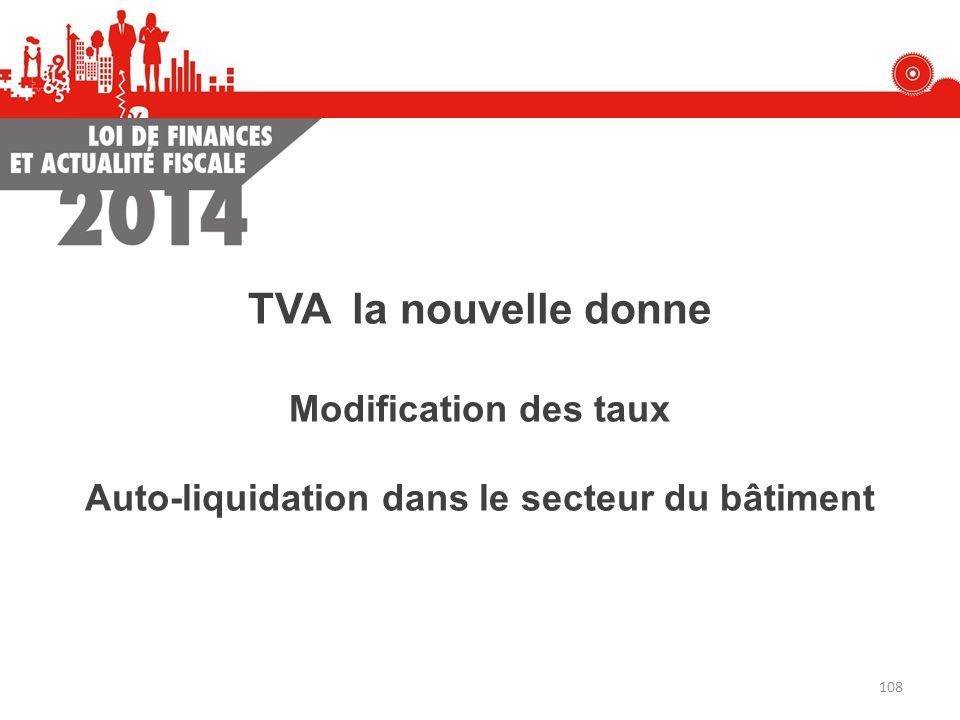 Modification des taux Auto-liquidation dans le secteur du bâtiment