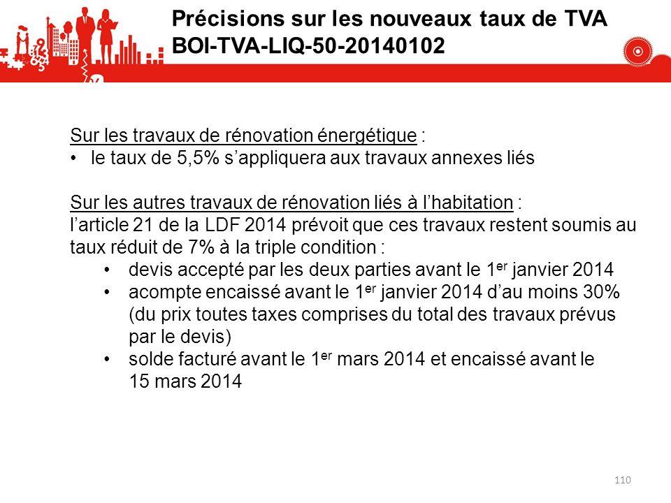 Précisions sur les nouveaux taux de TVA BOI-TVA-LIQ-50-20140102