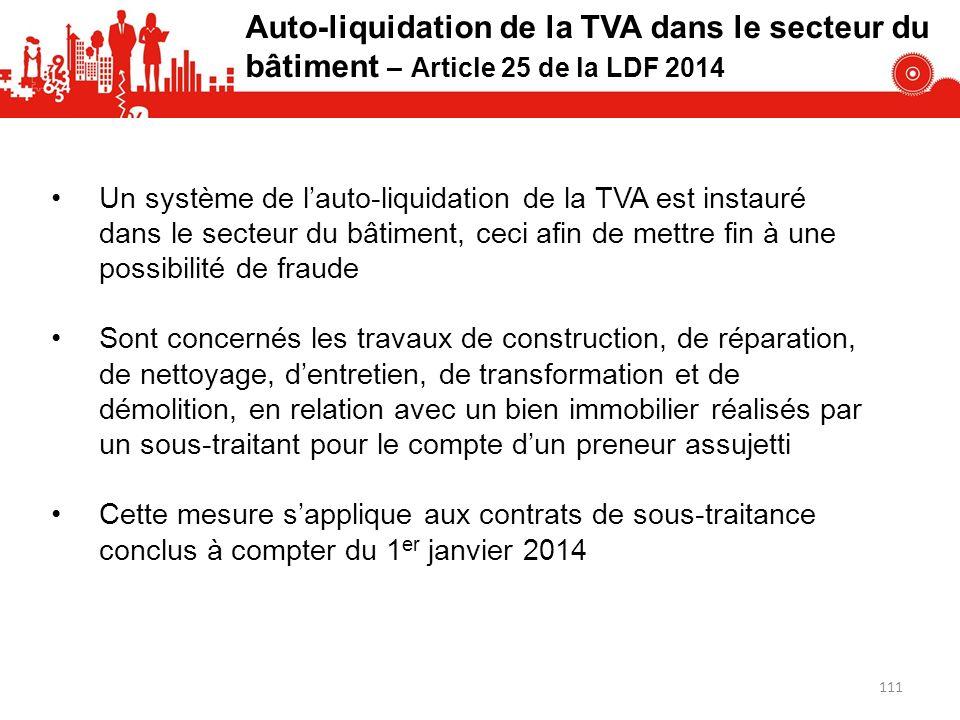 Auto-liquidation de la TVA dans le secteur du bâtiment – Article 25 de la LDF 2014