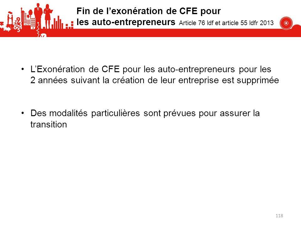 Fin de l'exonération de CFE pour les auto-entrepreneurs Article 76 ldf et article 55 ldfr 2013
