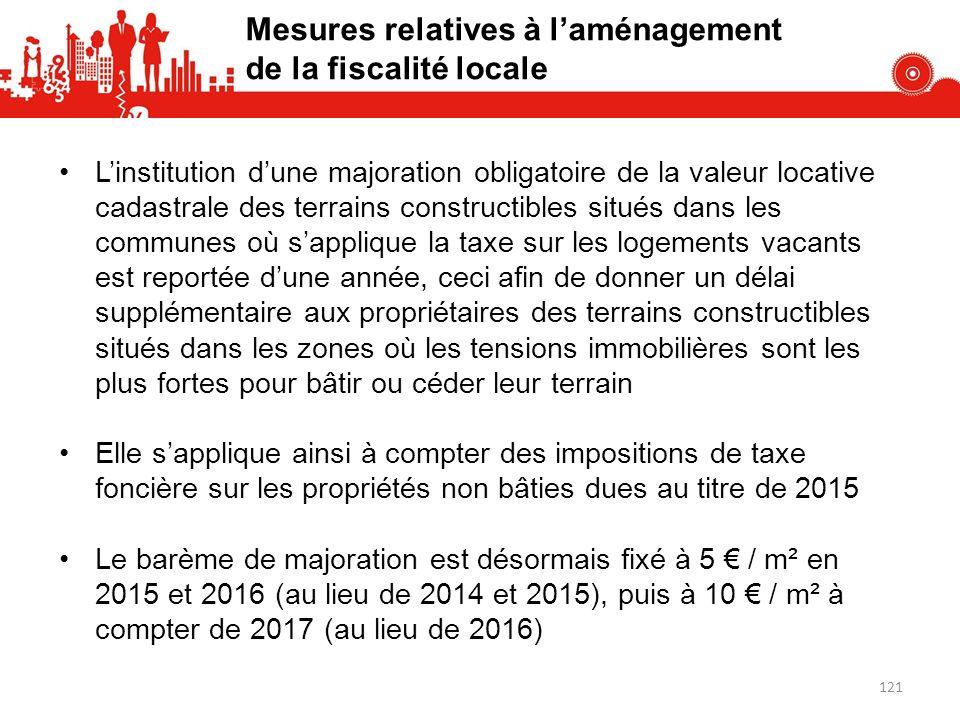 Mesures relatives à l'aménagement de la fiscalité locale