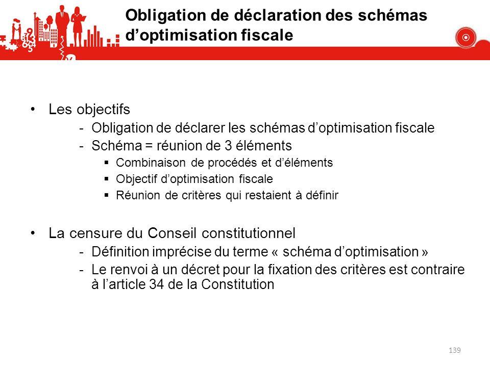 Obligation de déclaration des schémas d'optimisation fiscale