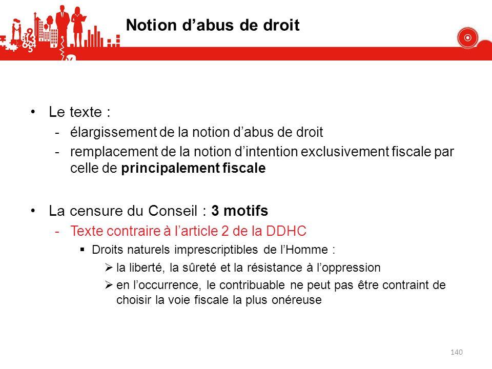 Notion d'abus de droit Le texte : La censure du Conseil : 3 motifs