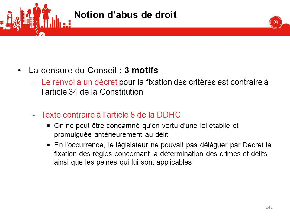 Notion d'abus de droit La censure du Conseil : 3 motifs