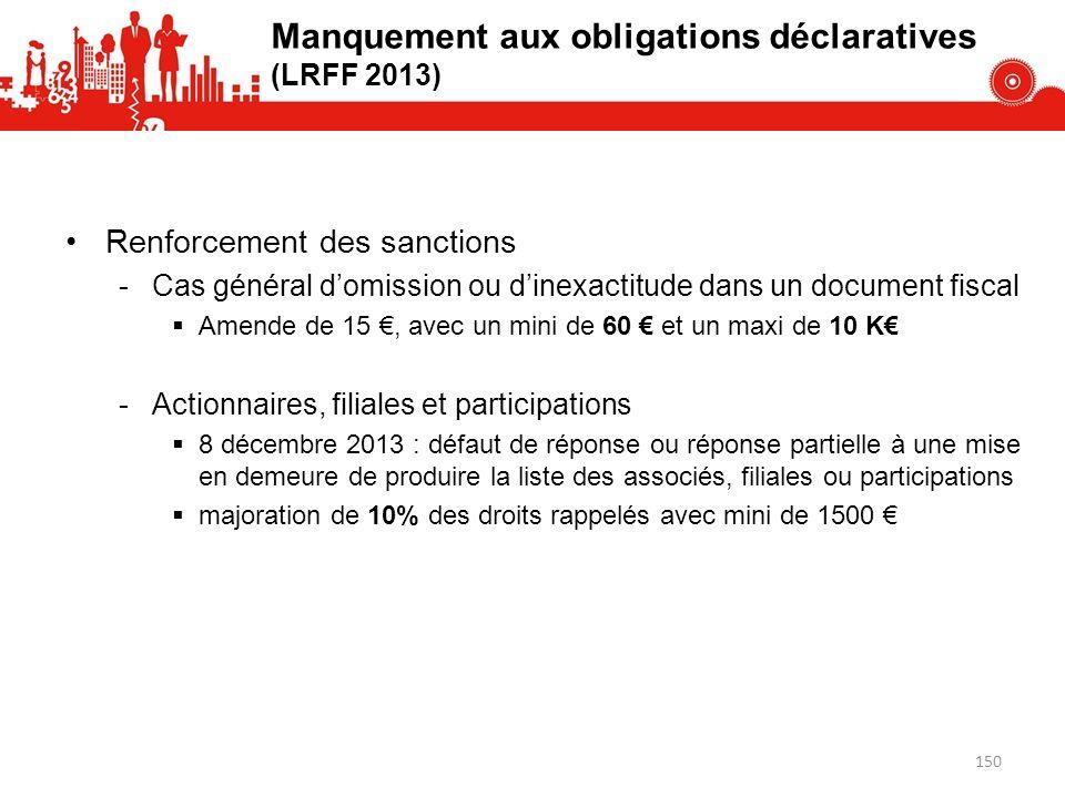 Manquement aux obligations déclaratives (LRFF 2013)