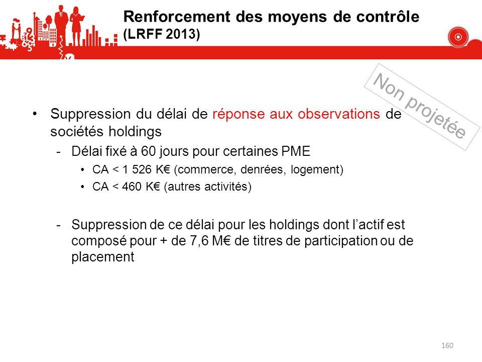 Non projetée Renforcement des moyens de contrôle (LRFF 2013)