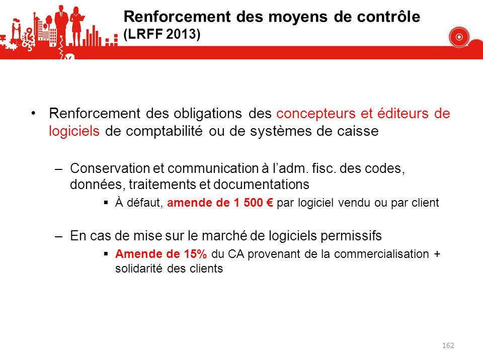 Renforcement des moyens de contrôle (LRFF 2013)