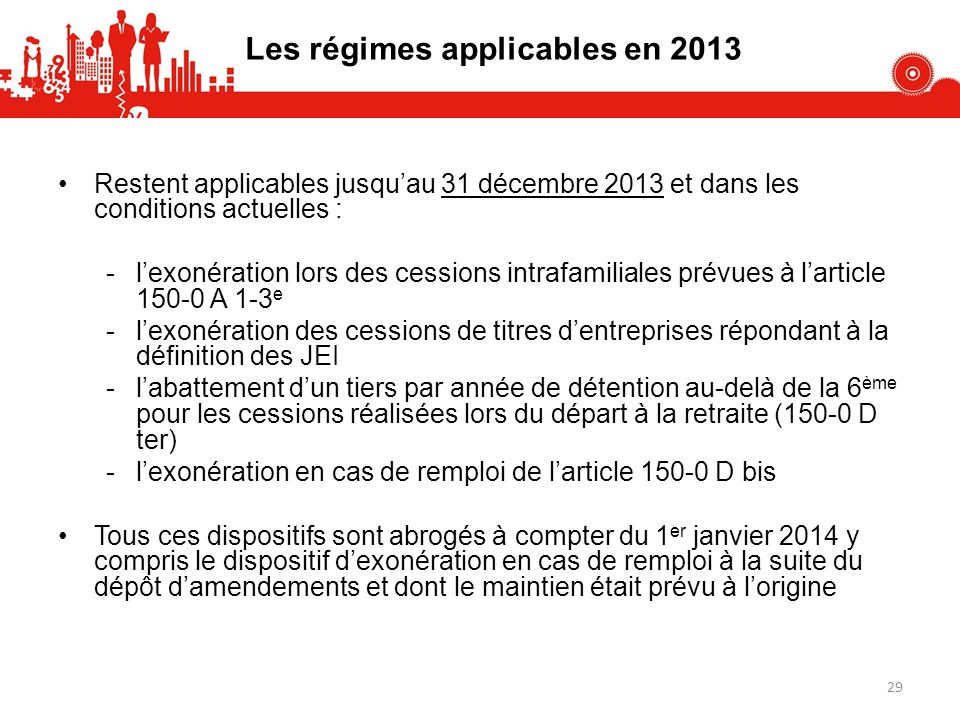 Les régimes applicables en 2013