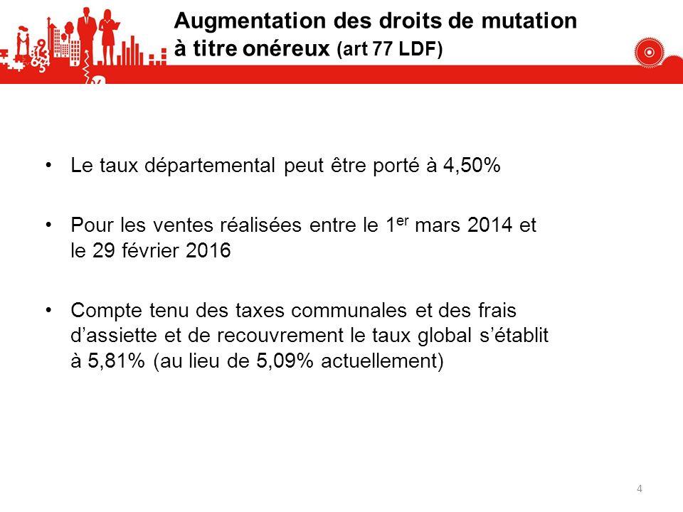 Augmentation des droits de mutation à titre onéreux (art 77 LDF)