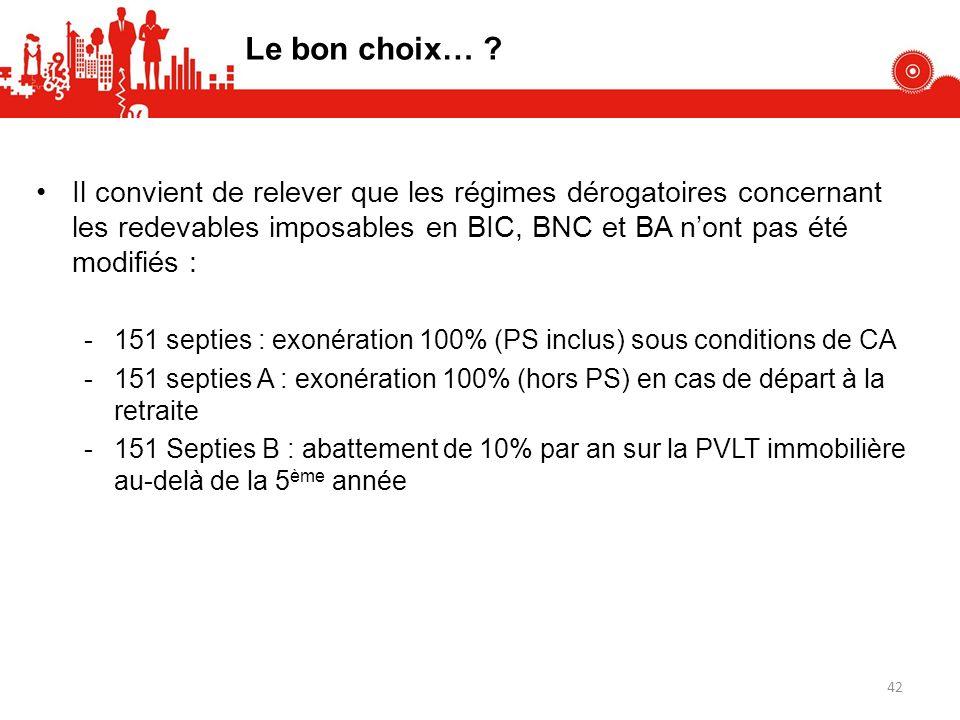 Le bon choix… Il convient de relever que les régimes dérogatoires concernant les redevables imposables en BIC, BNC et BA n'ont pas été modifiés :
