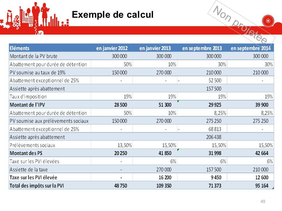 Exemple de calcul Non projetée