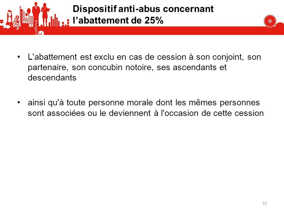 Dispositif anti-abus concernant l'abattement de 25%