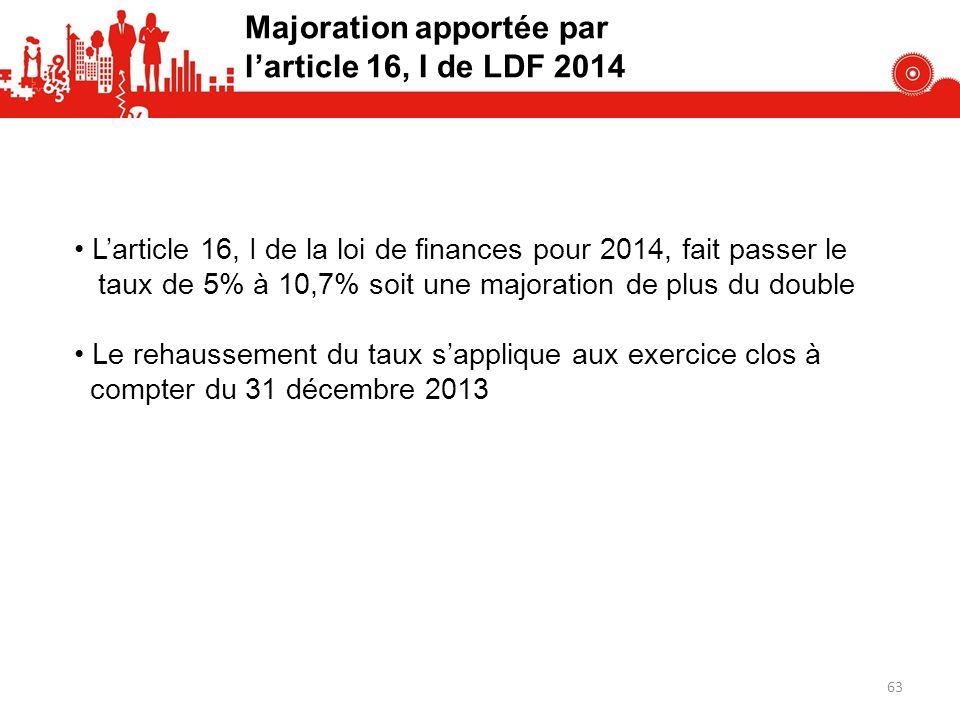 Majoration apportée par l'article 16, I de LDF 2014