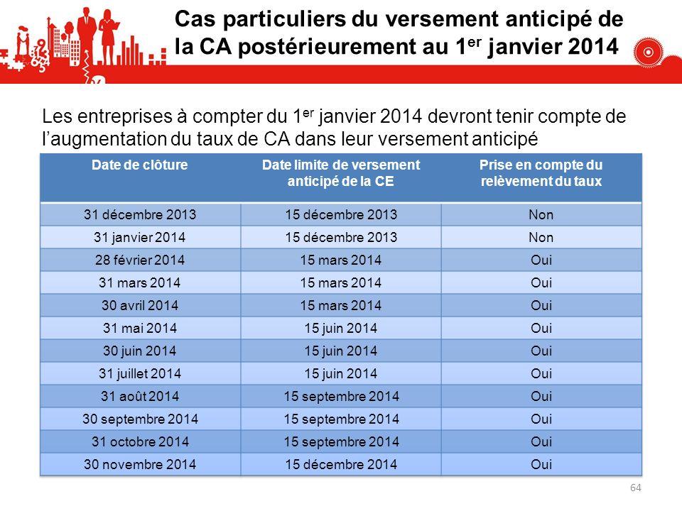Cas particuliers du versement anticipé de la CA postérieurement au 1er janvier 2014