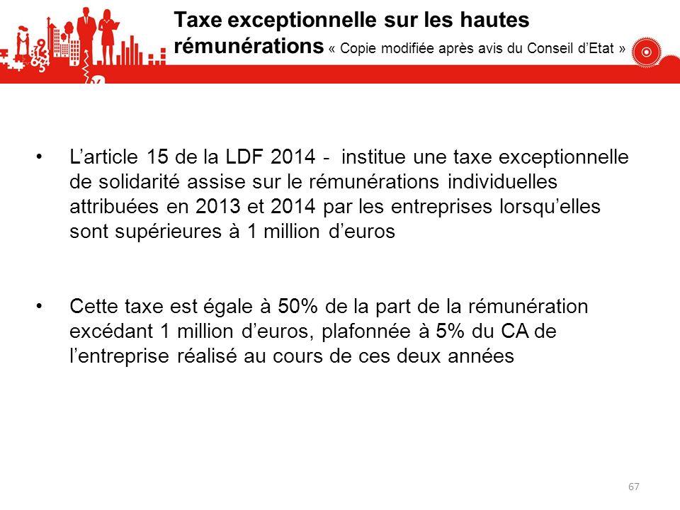 Taxe exceptionnelle sur les hautes