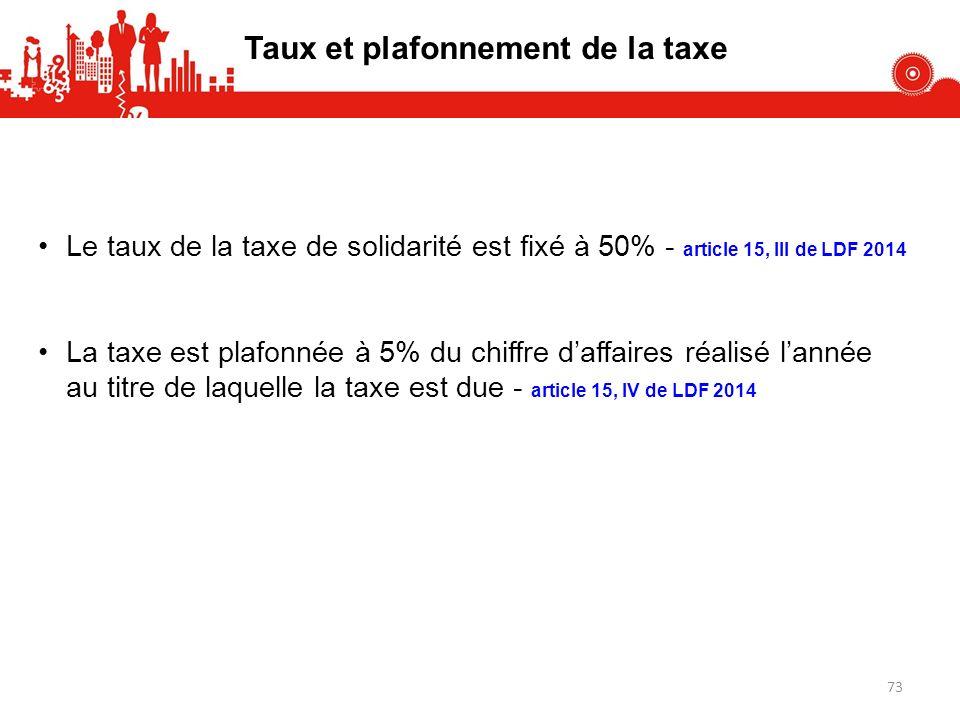 Taux et plafonnement de la taxe