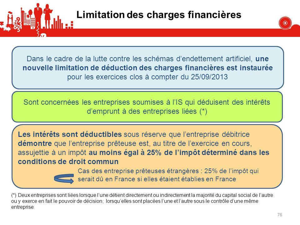 Limitation des charges financières