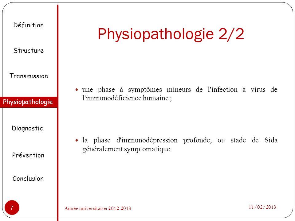Physiopathologie 2/2 Définition. Structure. une phase à symptômes mineurs de l infection à virus de l immunodéficience humaine ;