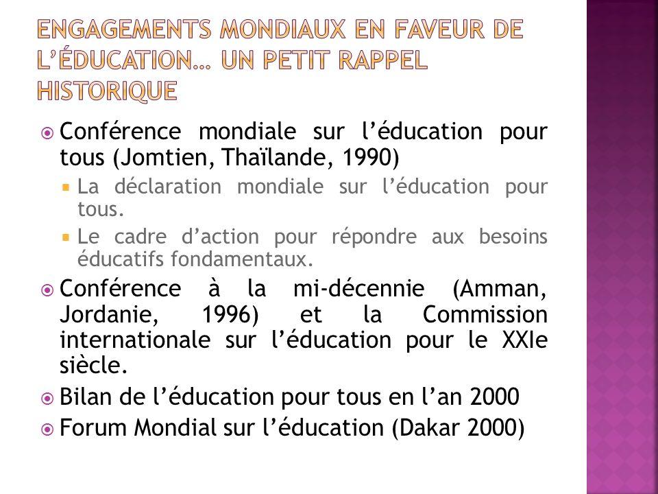 Engagements mondiaux en faveur de l'éducation… un petit rappel historique